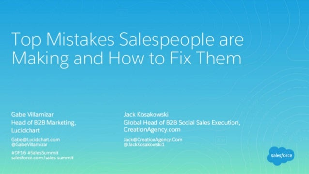 [Dreamforce] Top Mistake Salespeople are Making and How to Fix Them