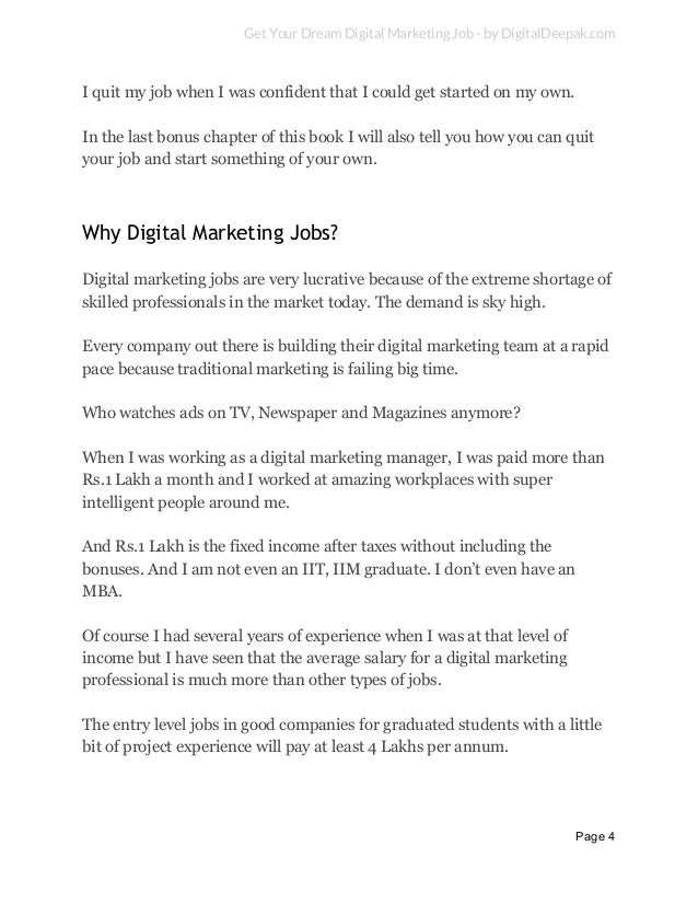 page 3 5 get your dream digital marketing job - Your Dream Job Tell Me About Your Dream Job