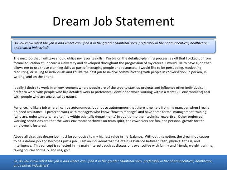 an essay on my dream job My dream job essay sample there are thousands of places in this country to make a career in my opinion the medical industry is one of the best places to spend my time working because the work goes for a greater cause to help people in need.