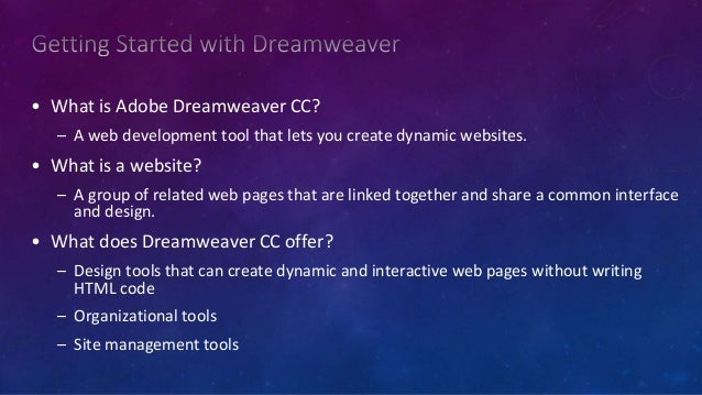 Dreamweaver - Introduction AND WALKTHROUGH