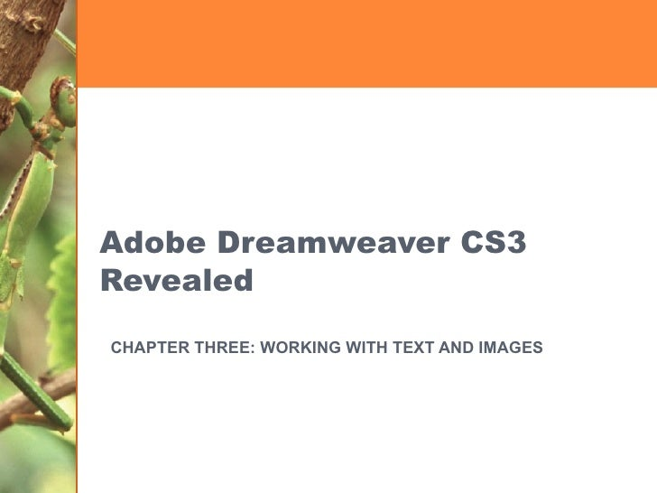 Adobe Dreamweaver CS3 Revealed CHAPTER THREE: WORKING WITH TEXT AND IMAGES