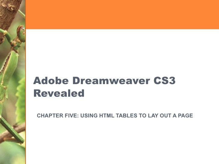 Adobe Dreamweaver CS3 Revealed CHAPTER FIVE: USING HTML TABLES TO LAY OUT A PAGE