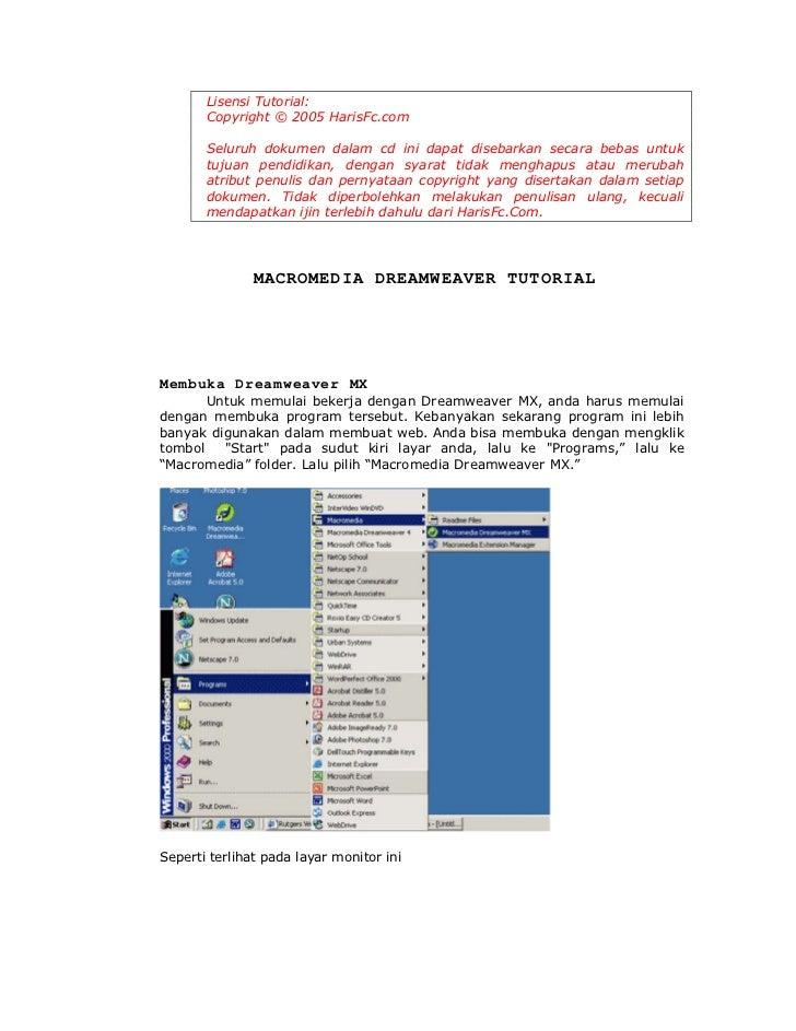 Lisensi Tutorial:       Copyright © 2005 HarisFc.com       Seluruh dokumen dalam cd ini dapat disebarkan secara bebas untu...