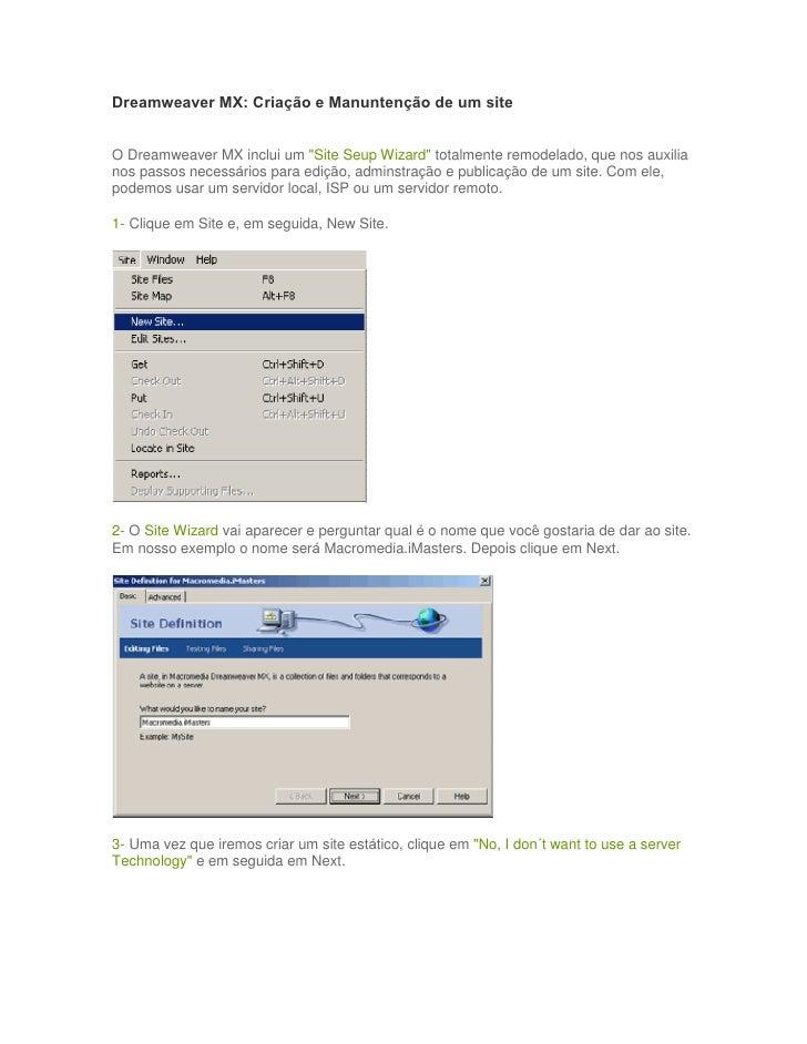 """Dreamweaver MX: Criação e Manuntenção de um siteO Dreamweaver MX inclui um """"Site Seup Wizard"""" totalmente remodelado, que n..."""