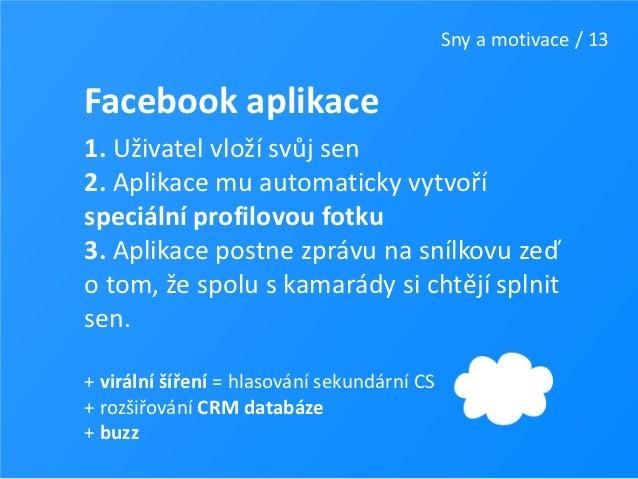 Sny a motivace / 13Facebook aplikace1. Uživatel vloží svůj sen2. Aplikace mu automaticky vytvoříspeciální profilovou fotku...