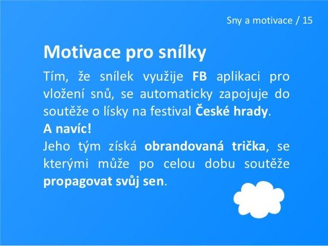 Sny a motivace / 15Motivace pro snílkyTím, že snílek využije FB aplikaci provložení snů, se automaticky zapojuje dosoutěže...