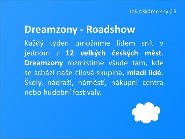 Jak získáme sny / 5Dreamzony - RoadshowKaždý týden umožníme lidem snít vjednom z 12 velkých českých měst.Dreamzony rozmíst...
