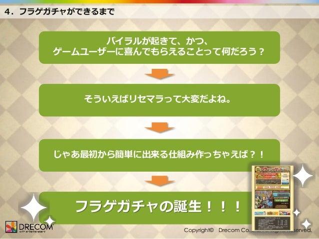 4.フラゲガチャができるまで  バイラルが起きて、かつ、 ゲームユーザーに喜んでもらえることって何だろう?  そういえばリセマラって大変だよね。  じゃあ最初から簡単に出来る仕組み作っちゃえば?!  フラゲガチャの誕生!!! Copyright...