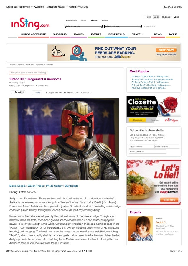 'Dredd 3D': Judgement = Awesome - Singapore Movies - inSing.com Movies                                                    ...