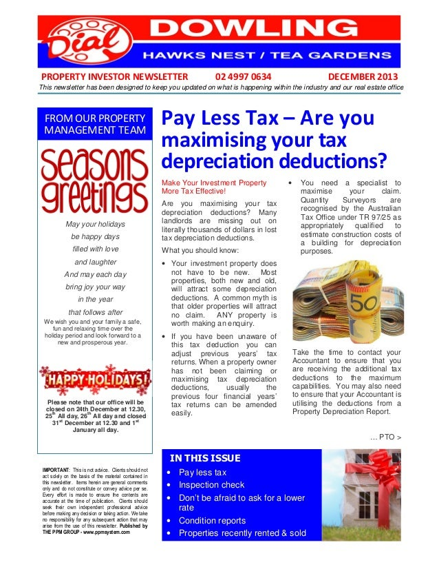 PROPERTY INVESTOR NEWSLETTER  02 4997 0634  DECEMBER 2013  This newsletter has been designed to keep you updated on what i...