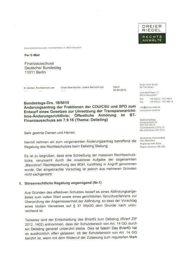 Dreier Riedel: Stellungnahme zu geplanten Delisting-Neure