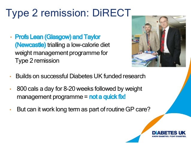 Type 2 remission: DiRECT • Profs Lean (Glasgow) and Taylor (Newcastle) trialling a low-calorie diet weight management prog...