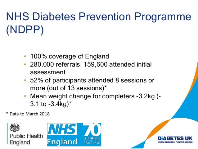 NHS Diabetes Prevention Programme (NDPP) • 100% coverage of England • 280,000 referrals, 159,600 attended initial assessme...