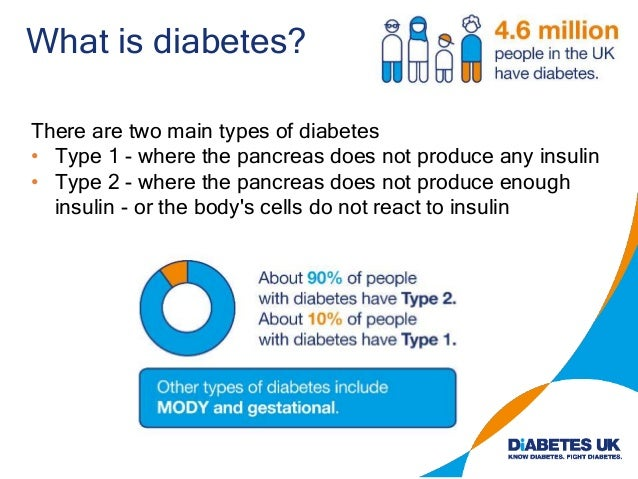 What is diabetes? There are two main types of diabetes • Type 1 - where the pancreas does not produce any insulin • Type 2...