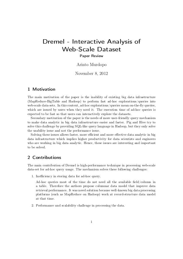 Dremel - Interactive Analysis of               Web-Scale Dataset                                    Paper Review          ...