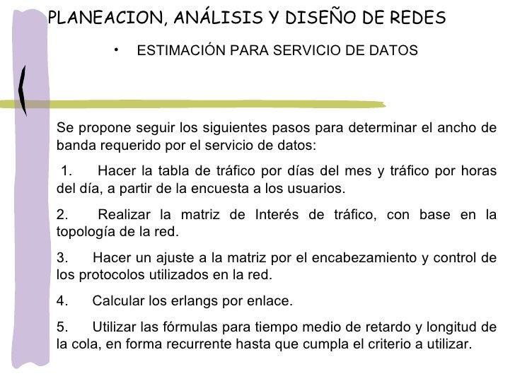 <ul><li>ESTIMACIÓN PARA SERVICIO DE DATOS </li></ul>Se propone seguir los siguientes pasos para determinar el ancho de ban...
