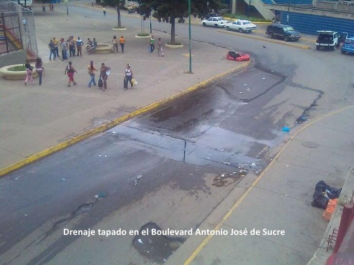 Drenaje tapado en el Boulevard Antonio José de Sucre