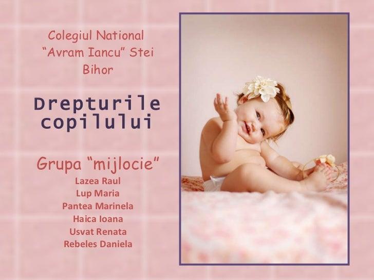 """Colegiul National  """"Avram Iancu"""" Stei Bihor Drepturile copilului Grupa """"mijlocie"""" Lazea Raul Lup Maria Pantea Marinela Hai..."""