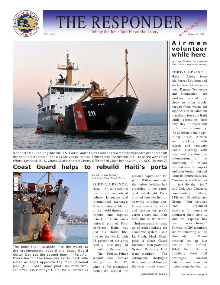 Vol. I, Issue 5                                       THE RESPONDER Telling the Joint Task Force-Haiti story              ...
