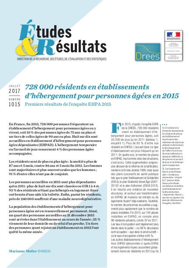 En France, fin2015, 728000personnes fréquentent un établissement d'hébergement pour personnes âgées ou y vivent, soit 1...