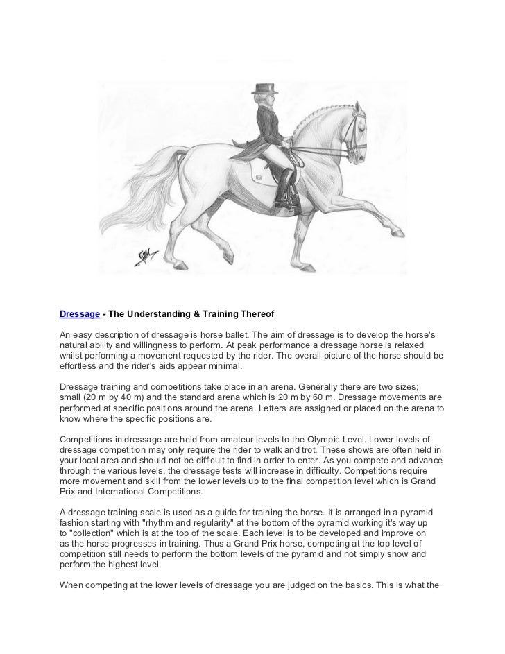 Dressage - The Understanding & Training ThereofAn easy description of dressage is horse ballet. The aim of dressage is to ...