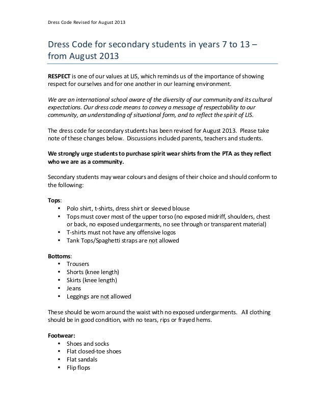 Dress	  Code	  Revised	  for	  August	  2013	  Dress	  Code	  for	  secondary	  students	  in	  years	  7	  to	  13	  –	  ...