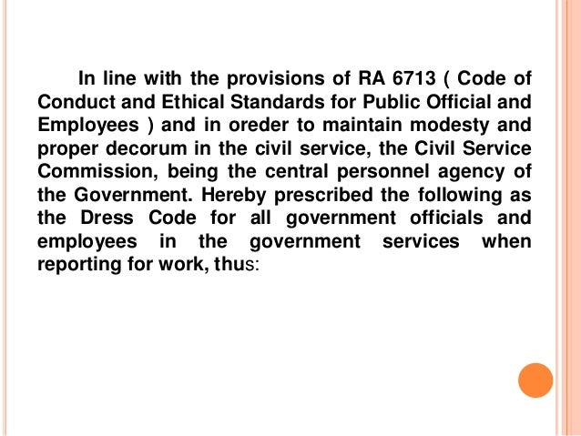 Dresscode gov't official and employees