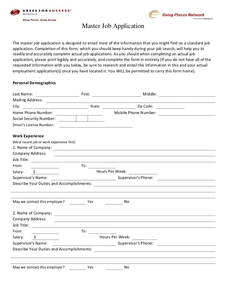 Dress For Success Memphis Career Center Master Job Application