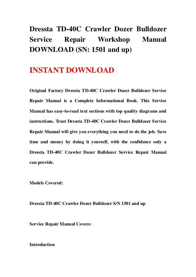download komatsu td 40c dozer service shop manual