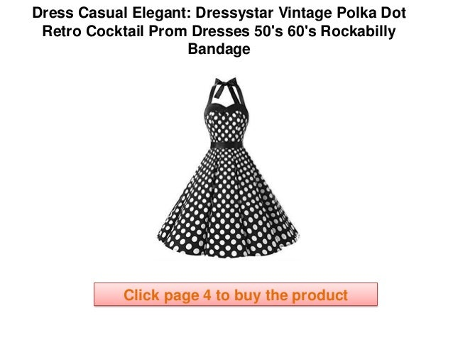 c236fcfaaec elegantly casual dresses Dressystar Vintage Polka Dot Retro Cocktail Prom  Dresses 50 s 60 s Rockabilly Bandage Dress Womens Online