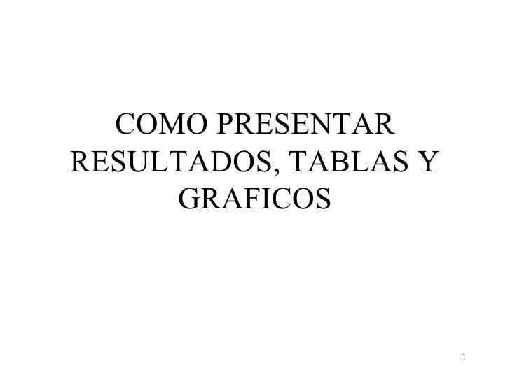COMO PRESENTAR RESULTADOS, TABLAS Y GRAFICOS