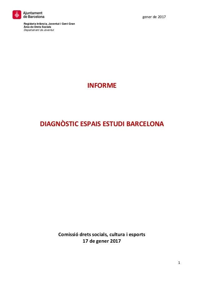 gener de 2017 Regidoria Infància, Joventut i Gent Gran Àrea de Drets Socials Departament de Joventut 1 INFORME DIAGNÒSTIC ...