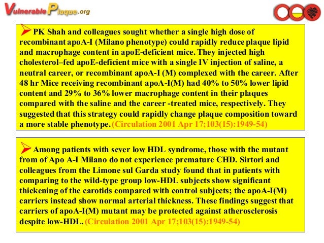 Among patients with sever low HDL syndrome, those with the mutant from of Apo A-I Milano do not experience premature CHD....