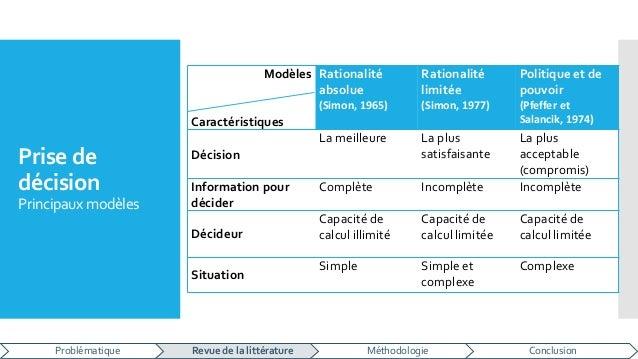 Prise de décision Principaux modèles Modèles Caractéristiques Rationalité absolue (Simon, 1965) Rationalité limitée (Simon...
