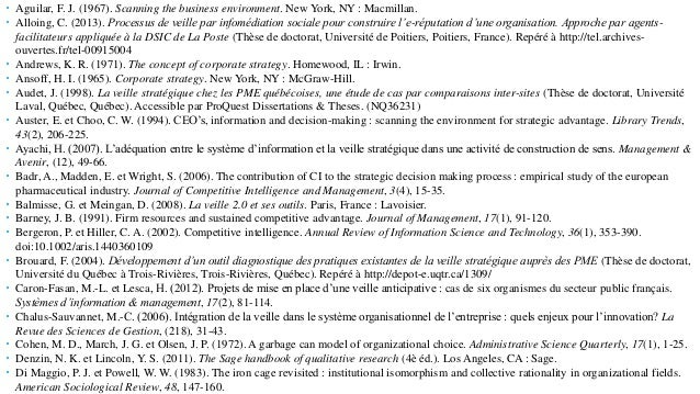 Sources citées  Aguilar, F. J. (1967). Scanning the business environment. New York, NY : Macmillan.  Alloing, C. (2013)....