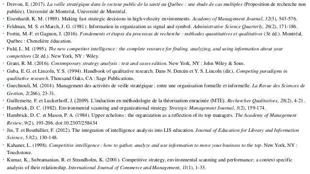  Drevon, E. (2017). La veille stratégique dans le secteur public de la santé au Québec : une étude de cas multiples (Prop...
