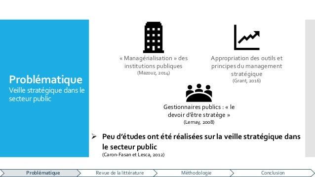 Problématique Veille stratégique dans le secteurpublic « Managérialisation » des institutions publiques (Mazouz, 2014) App...