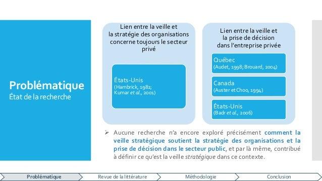 Problématique État de la recherche Lien entre la veille et la stratégie des organisations concerne toujours le secteur pri...