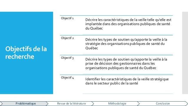 Objectifs de la recherche Objectif 1 Décrire les caractéristiques de la veille telle qu'elle est implantée dans des organi...