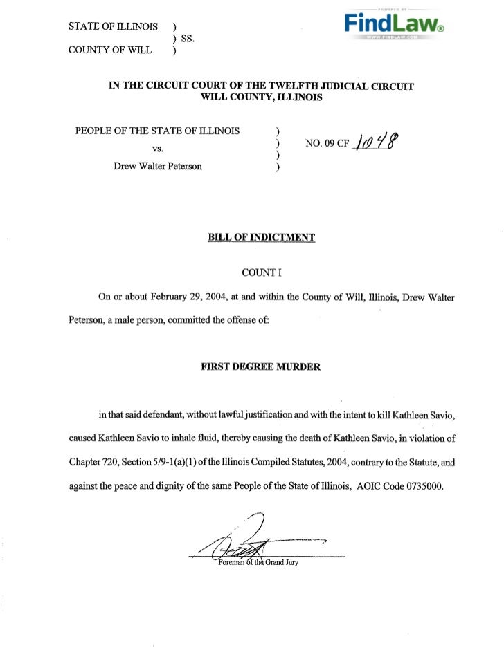 FindLaw :  Peterson Indictment