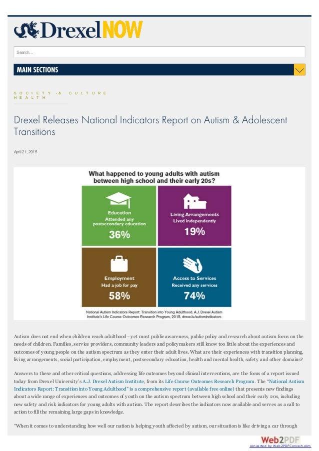 National Autism Indicators Report >> Drexel University Autism Institue National Indicators Report