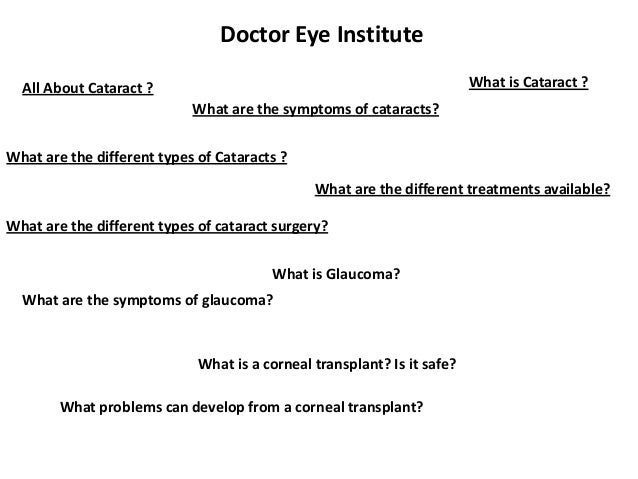 Doctor Eye Institute What is Cataract ?  All About Cataract ? What are the symptoms of cataracts?  What are the different ...