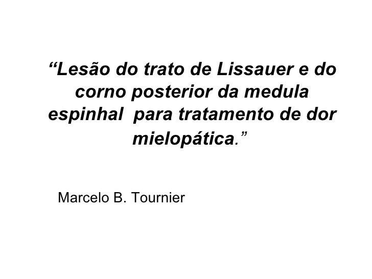 """"""" Lesão do trato de Lissauer e do corno posterior da medula espinhal  para tratamento de dor mielopática .""""   Marcelo B. T..."""