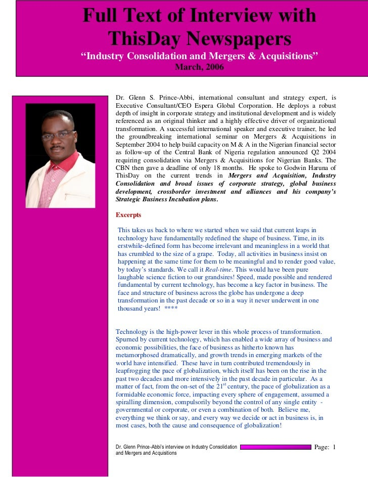 """Full Text of Interview with  ThisDay Newspapers""""Industry Consolidation and Mergers & Acquisitions""""                        ..."""