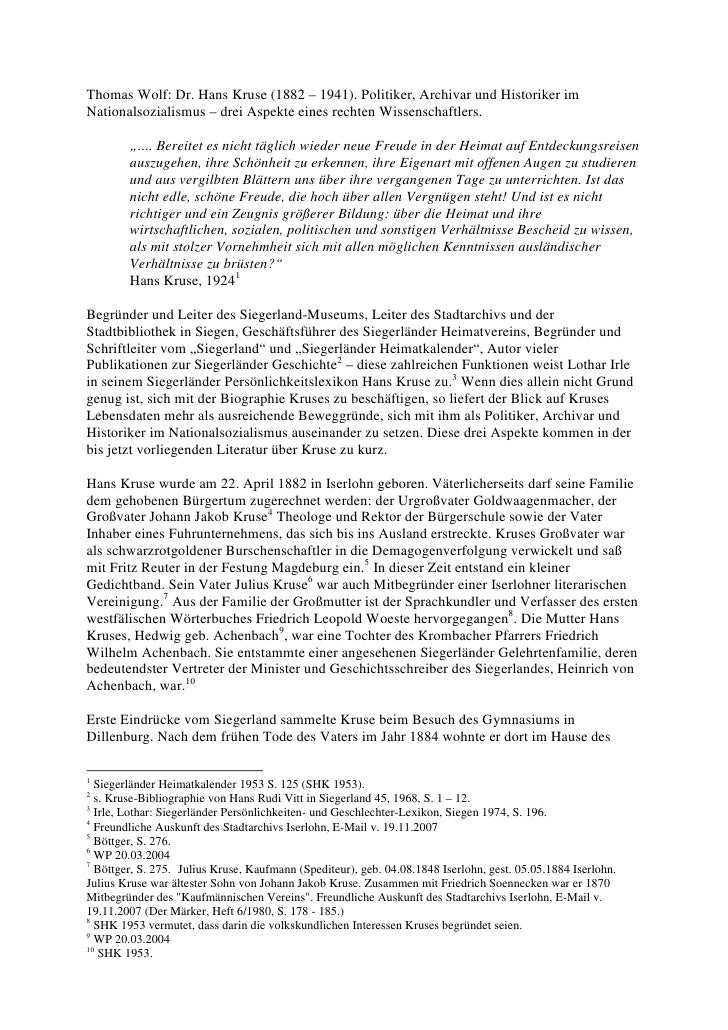 Thomas Wolf: Dr. Hans Kruse (1882 – 1941). Politiker, Archivar und Historiker imNationalsozialismus – drei Aspekte eines r...