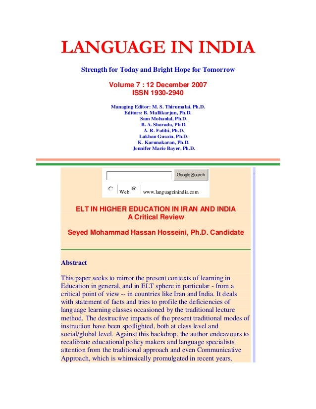 LANGUAGE IN INDIA Strength for Today and Bright Hope for Tomorrow Volume 7 : 12 December 2007 ISSN 1930-2940 Managing Edit...