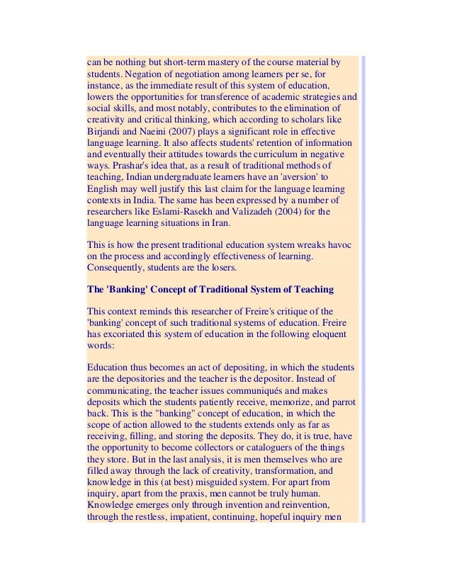 an essay on communism and the banking concept of education View essay - essay on the banking concept of education from engl 1101 at savannah state the banking concept of education paulo freire begins his essay, the banking.
