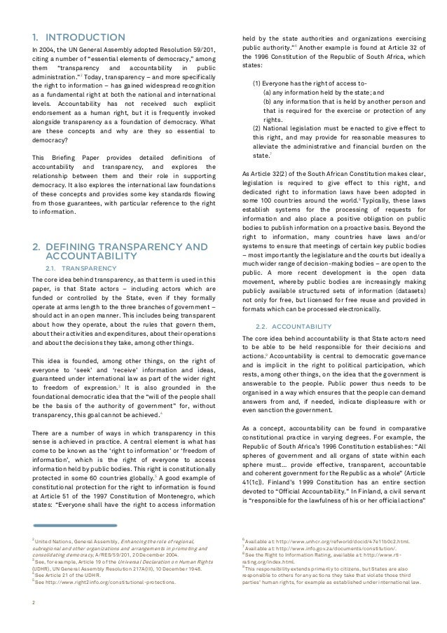 NORMES INTERNATIONALES SUR LA TRANSPARENCE ET LA RESPONSABILISATION Slide 2