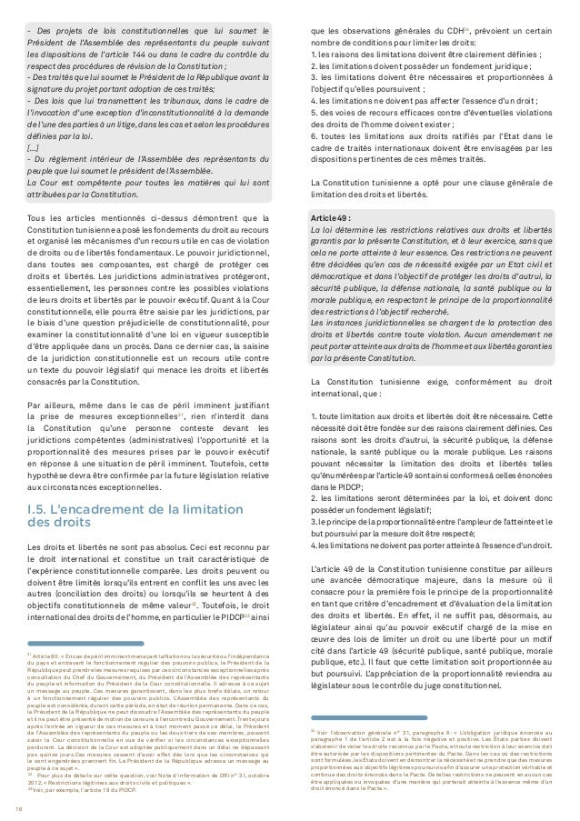 16 22 Pour plus de détails sur cette question, voir Note d'information de DRI n° 31, octobre 2012, « Restrictions légitime...