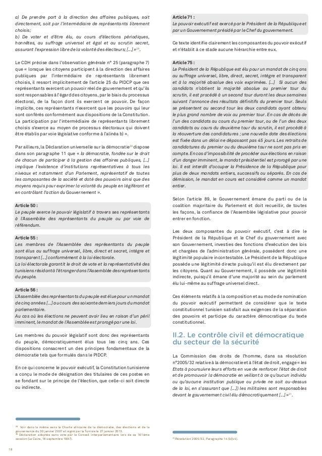 18 31 Résolution 2005/32, Paragraphe 14 (b)(vii). 29 Voir dans le même sens la Charte africaine de la démocratie, des élec...